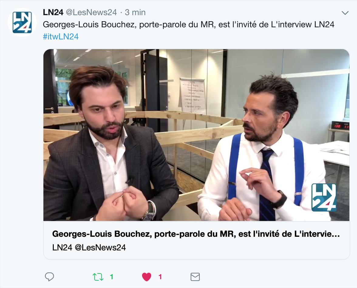 Interview de Georges-Louis Bouchez par Martin Buxant sur LN24 le 17 avril 2019
